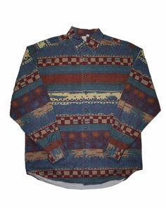 Vintage 90s Southwestern Style Long Sleeve Button Up Shirt Mens Size Large $30.00