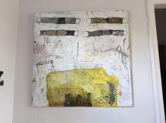 Maleri fra i år. Akryl og avispapir