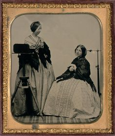 Mathew Brady and the Daguerreotype Portrait | Claire McRee | Visualizing 19th-Century New York Woman Daguerreotypist with Camera and Sitter, ca. 1855. Sixth-plate ambrotype. The Nelson-Atkins Museum of Art, Kansas City, Missouri. Purchase: William Rockhill Nelson Trust, 2005.27.5. © Nelson Gallery Foundation. Photo: Thomas Palmer.