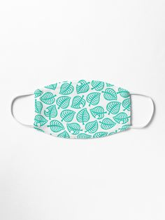 """Nook Leaf White"" Mask by KittyMuffinzz Iphone Wallet, Iphone Cases, Toffee, Face Masks, Nook, Turquoise Bracelet, Chiffon Tops, Bee, Tote Bag"