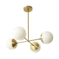 Cedar & Moss Alto Compass. Shown in Brass with opal shades.