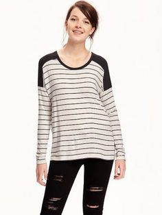 Old Navy Boyfriend Drapey Tee For Women Size L Tall – O. new black stripe Long Tops, Long Sleeve Tops, Tees For Women, Clothes For Women, Women's Clothes, Casual Wear Women, Women's Casual, Big And Tall Outfits, Shoes Too Big