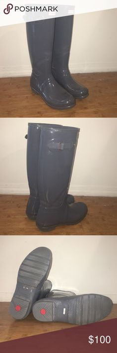 Hunter Boots blue Lightly worn size 9 Hunter Boots                      High gloss blue color perfect for spring!  Hunter Boots Shoes Winter & Rain Boots