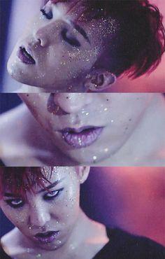 G-Dragon // Bang Bang Bang Loving the glitter smokey and blue contacts.