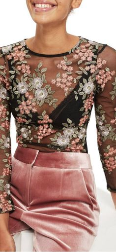 embroidered bodysuit