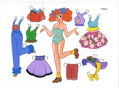 HISPANIC Paper Doll : PAULA Spanish Vestidos Recortables English Cut-out Dresses