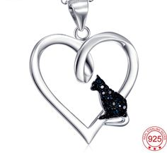 925 Sterling Silver Heart Shape CZ Black Cat Pendant with Necklace Fashion Jewelry Necklaces, Heart Jewelry, Metal Jewelry, Fashion Necklace, Fine Jewelry, Cat Necklace, Pendant Necklace, Colar Fashion, Sterling Silver Heart Necklace