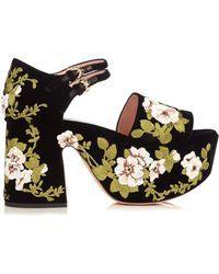 Rochas   Floral-embroidered Velvet Platform Sandals   Lyst