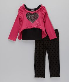 Love this Nannette Pink Rhinestone Heart Tee Set - Infant by Nannette on #zulily! #zulilyfinds