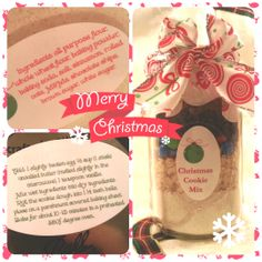 Homemade Christmas Gift! Oatmeal, M&M and Chocolate Chip Cookie Mix in dolled up mason jar with ingredients and instruction labels.