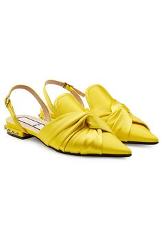 Coated in glossy yellow satin and styled with a knotted bow front, these pointed flats are a chic but contemporary choice from The stud embellishment adds tough texture and attention-to-detail. Shoes Flats Sandals, Slingback Shoes, Slingbacks, Flat Sandals, Shiny Shoes, Pointed Flats, Cute Flats, Yellow Shoes, Yellow Fashion