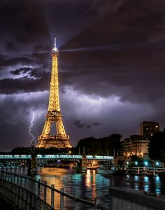 Lightning in Paris. Excuse me that's what it said.  I just repinned, thank you very much!