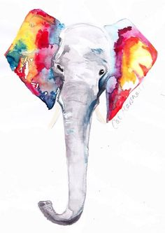 cat, elephant art, watercolor tattoos, elephant ears, paint, a tattoo, artist, elephant tattoos, print
