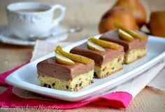 Prajitura cu pere si crema de ciocolata Cheesecake, Desserts, Food, Tailgate Desserts, Deserts, Cheese Cakes, Eten, Postres, Dessert