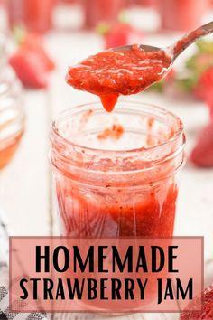 Strawberry Jelly Recipes, Homemade Strawberry Jam, Homemade Jelly, Healthy Strawberry Jam Recipe, Strawberry Preserves, Home Canning Recipes, Cooking Recipes, Dinner Recipes, Pressure Canning Recipes