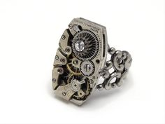 Steampunk Ring wristwatch movement gears antique circa 1920 15 ruby jewel silver filigree faceted swarovski crystal adjustable