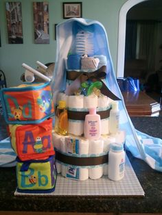 Baby Boy tiered diaper cake
