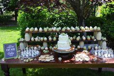 Ranch Wedding #farmtable #wedding #desserttable #dessert #ranchwedding #rancharrah #masonjars #rustic
