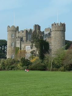Malahide Castle, Ireland.  It's a wonderful place to visit, to walk, and to shop at the AVOCA Mill Store.  AVOCA has a fantastic cafeteria and place to eat.  The castle is very interesting, but it isn't as big as the picture makes it look.