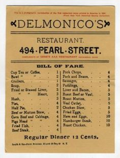 The real old days at Delmonico's--12 cents for dinner