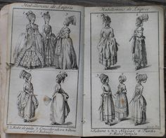 I love old books and magazines, the look and feel of the paper, the images and recollections of a previous age. This book is a German alman. 18th Century Dress, 18th Century Clothing, 18th Century Fashion, 19th Century, Book And Magazine, Sewing Dolls, Hat Hairstyles, Old Books, Roman Empire