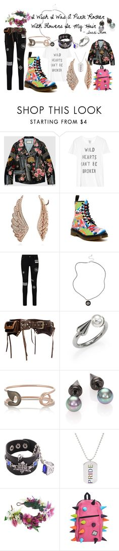 """I Wish I Was A Punk Rocker With Flowers In My Hair - song by Sandi Thom"" by jhmb on Polyvore featuring Gucci, Zoe Karssen, BERRICLE, Dr. Martens, Majorica, IaM by Ileana Makri, Rainbow, Rock 'N Rose, women's clothing and women"