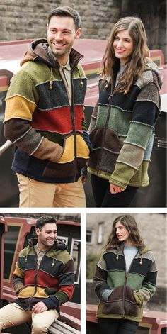 Unisex styling this patchwork jacket is hand knitted in pure wool, comfy relaxed style and a cosy fleece lining. Hand made in Nepal, fairly traded by Namaste. Unisex Fashion, 100 Pure, Fair Trade, Nepal, Namaste, Cosy, Hand Knitting, Pure Products, Clothing