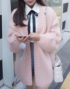 Sweet Style Collarless Long Sleeve Pure Color Loose-Fitting Cardigan For Women