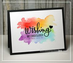 Wishing You Were Here - Geburtstagskarte Diy Handmade Greetings, Greeting Cards Handmade, Happy Birthday Handmade Cards, Simple Handmade Cards, Watercolor Cards, Watercolor Background, Simple Watercolor, Diy Cards, Your Cards