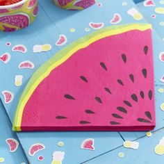 We are loving these watermelon shaped napkins! The bright colours and cool shape make them the perfect addition to a summer bbq or party! Great for giving to guests with their fruity cocktails and snacks! - Summer Fruits at GingerRay.co.uk