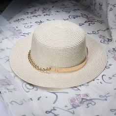 2016 summer Flat sun hats for women Metal chain decoration straw hat panama Beach bucket cap girl topee