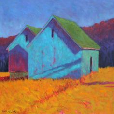 24 x 24 : oil on canvas : 2015 Two old barns, sitting side-by-side for over 100 years, have an almost human quality in their enduring relationship to each other.