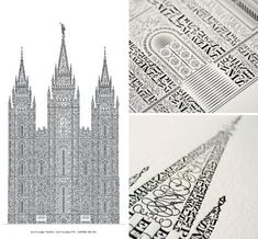 Crafted character by character in the shape of the Salt Lake Temple, designer Cameron Moll's letterpress tower took hundreds of hours to create. The beautiful architectural qualities of the letterpress medium itself pay fitting tribute to a painstaking process, with letters and typefaces chosen by shape for each portion of the design.