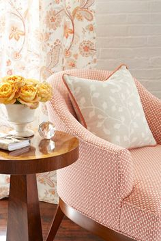 Sarah Richardson for Kravet Collections - drapery fabric (same as chair) Sarah Richardson, Coral Chair, Shades Of Peach, Cozy Corner, Fabulous Fabrics, Fabric Wallpaper, Cottage Style, Decoration, Family Room