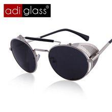 Adiglass Marca Mujeres Retro gafas de Sol Redondas Steampunk Hueco Al Aire Libre Unisex Hombres Steam Punk Gafas UV400 Metálica Perforada(China (Mainland))