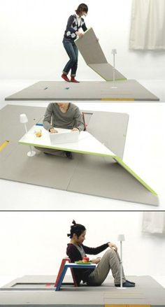 'land peel' is a design from japanese industrial design student shin yamashita. It's a flat three piece mat set from which you can create a table, a seat or a rest simply by lifting the panels. Multifunctional Furniture, Smart Furniture, Modular Furniture, Space Saving Furniture, Unique Furniture, Furniture Design, Furniture Ideas, Furniture Makeover, Bedroom Furniture