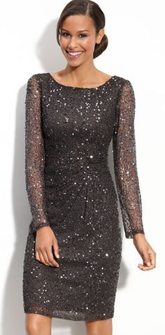 MOB... Patra Beaded Mesh Sheath Dress @ Nordstrom (Grey)
