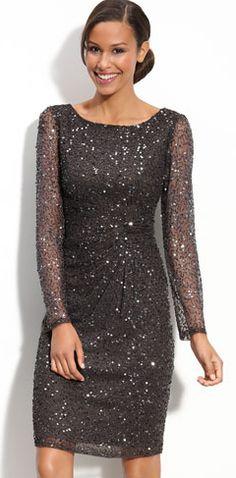 MOB... Patra Beaded Mesh Sheath Dress @ Nordstrom (Grey)