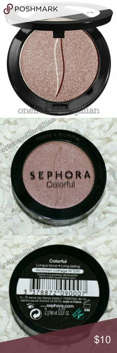 🎀 Sephora Colorful Eyeshadow - Victorian Cottage New/Sealed  Full Size & Authentic  Color: Victorian Cottage (rose mauve) Finish: Shimmer  A highly pigmented, long-lasting eye color.  Watch makeup go from everyday to extraordinary with Sephora eyeshadow. This shadow provides superior color, coverage & long-lasting wear (up to 10 hours) This shadow is also exceptionally easy to apply with micronized pigments that make for an ultrasmooth, blendable texture. Sephora Makeup Eyeshadow