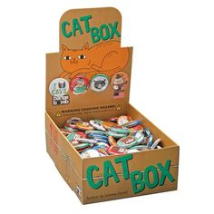 Cat Box Button Box by Gemma Correll. Our Button Boxes are USA Made and available wholesale from Badge Bomb.