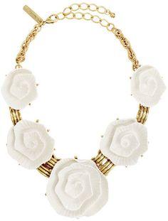 Oscar de la Renta Blanca Rose Necklace