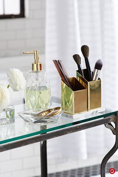 Conquer your bathroom clutter with this Nate Berkus angled holder for your nail files, brushes, and whatever else your beauty routine requires. Hint: They'll look fabulous on a vintage glass table.