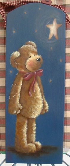 Pattern by Denise Girling painted by me by meredith Pintura Country, Arte Country, Wood Craft Patterns, Tole Painting Patterns, Teddy Bear Crafts, Bear Paintings, Country Paintings, Bear Art, Fabric Painting