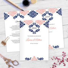 Navy coral Folded program templates DIY by WeddingInvitationByC Diy Wedding Program Template, Diy Wedding Stationery, Printable Wedding Programs, Wedding Ceremony Programs, Damask Wedding, Cover Template, Text You, Text Color, Templates