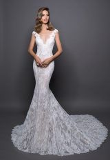 Lace Detailed V-neck Fit And Flare Wedding Dress by Love by Pnina Tornai - Image 1