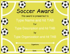 Free printable award certificate template award certificate award certificate templates soccer award with a soccer field and balls design in yellow and yelopaper Gallery