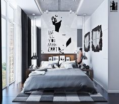 This chic urban bedroom is decorated in modern, even minimalist style with industrial touches