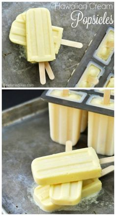 Hawaiian Cream Popsicles Frozen Desserts Frozen Sweets Pineapple recipes Whip up homemade popsicles made with coconut milk Recipe shared by Cherished Bliss for Brownie Desserts, Köstliche Desserts, Frozen Desserts, Frozen Treats, Delicious Desserts, Dessert Recipes, Hawaiian Desserts, Sweets Recipe, Drink Recipes