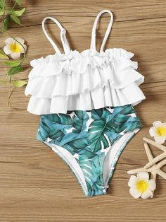 To find out about the Toddler Girls Random Palm Print Ruffle One Piece Swim at SHEIN, part of our latest Toddler Girl Swimwear ready to shop online today! Cute Swimsuits, Cute Bikinis, Kids Swimwear, One Piece Swimwear, Kids Bathing Suits, Toddler Girl Bathing Suit, Summer Outfits, Cute Outfits, Swimwear Fashion