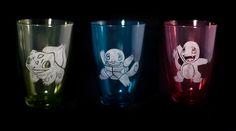 Engraved Pokemon Drinking Glasses by EventCapture on Etsy